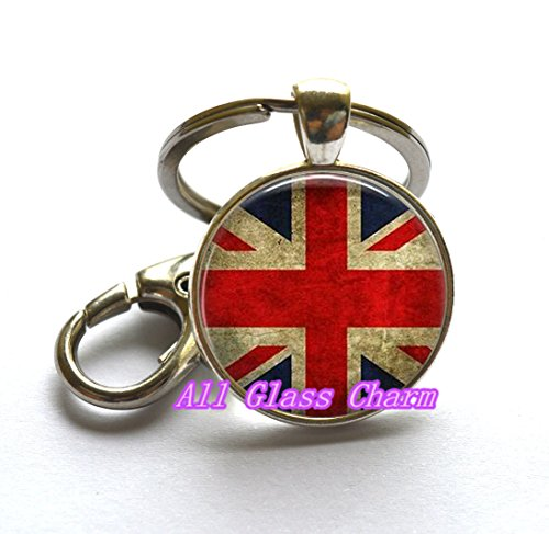Charming Keychain,Beautiful Keychain,Union Jack British Flag - Keychain Key Rings - Union Jack Jewellery - UK Flag Key Rings - Great Britain Flag Keychain