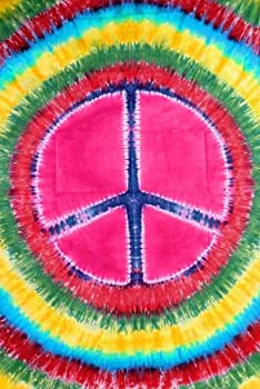 "58""x82"" Multi-Color Tie Dye Peace Sign Tapestry"