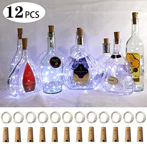 (Ehome Wine Bottle Lights with Cork, 12 Pack Starry Fairy Lights Battery Operated, 7.2ft 20LED Cork Shape Silver Copper Wire String Lights for Party Christmas Decoration Halloween Wedding - White )