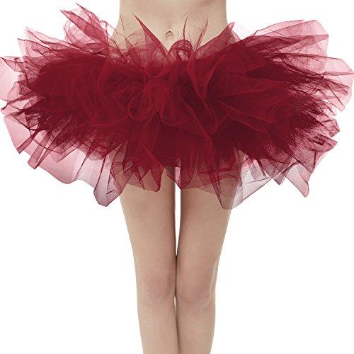Dresstore Women's Vintage 5 Layered Tulle Tutu Puffy Ballet Bubble Skirt Burgundy Regular Size -