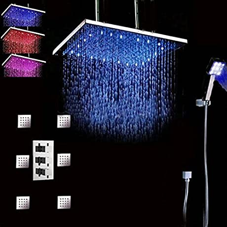 Huanyu Instrument 24 60cm Thermostatic Valve Mixer Ceiling Mounted LED Shower Head 6 Pcs Shower Jets Hand Shower Sprayer Color Change With Temperature
