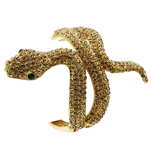 Rosemarie Collections Women's Golden Rhinestone Snake Fashion Statement Bracelet