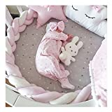 Soft Knot Pillow Decorative Baby Bedding Sheets Braided Crib Bumper Knot Pillow Cushion (multicolor) (pink+white+pink, 78.7 inch)