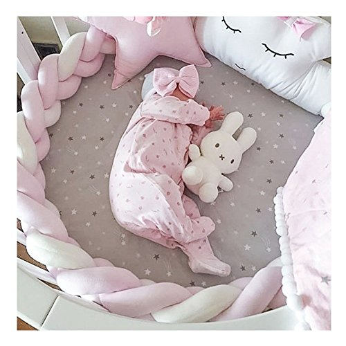 Soft Knot Pillow Decorative Baby Bedding Sheets Braided Crib Bumper Knot Pillow Cushion (Pink+White+Pink, 157.48 inch)