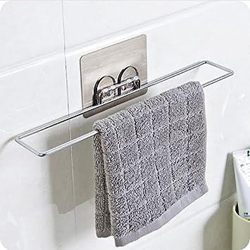 CWZMXXX Adhesivo De Acero Inoxidable Portarrollos Con Estante Para Baño Cocina Organizador Porta Toallas Colgador Mural Rack: Amazon.es: Bricolaje y ...