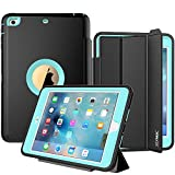 SEYMAC Case for iPad Mini 1/2/3, Three Layer Heavy Duty Auto Sleep Wake Function Cover Drop Proof [Rugged] Full Body Protective Case for Apple iPad Mini (Black/Light Blue)