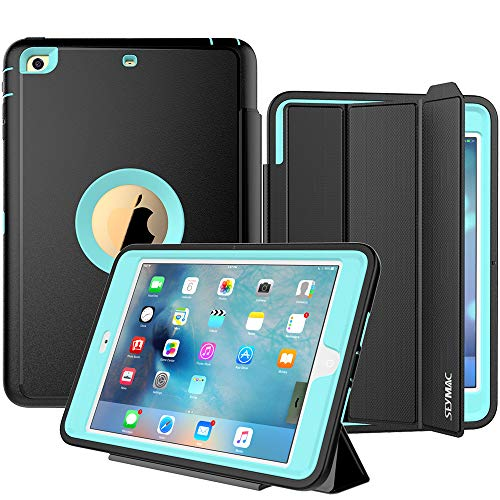 SEYMAC iPad Mini Case iPad Mini 2 Case iPad Mini 3 Case, 3 Layer Heavy Duty Auto Sleep Wake Cover Drop Proof Rugged Full Body Protective Case Compatible with iPad Mini 1/2/3 Gen (Black/Light Blue)