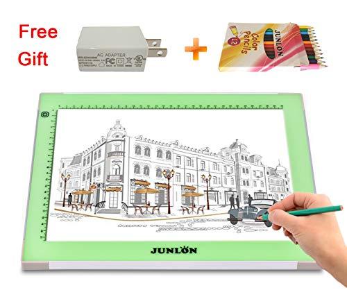 JUNLON A4 Aluminum USB LED Light Box Light Pad Table Tracing Board Tracer,Adjustable Brightness Ultra-Slim Led Pad Light for Weeding Vinyl,Drawing,Artcraft,Sketching,5D Diamond Painting Full Drill by JUNLON