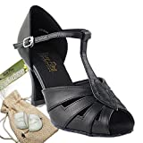 Women's Ballroom Dance Shoes Tango Wedding Salsa Dance Shoes Black Leather 2702EB Comfortable - Very Fine 3'' Heel 8.5 M US [Bundle of 5]