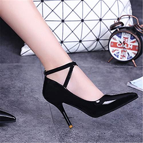 Femmes Cheville Pompes Mariage Femme Noir Talons Pointues Chaussures Les Hauts Jrenok De Cour Aiguilles Orteils q81ax5wTz