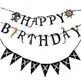 Awyjcas Pirate Party Supplies Kids Birthday Party Decoration, Ship, gun,Pirate Happy Birthday Banner