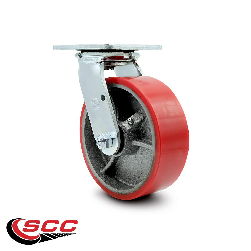Service Caster - 6'' x 2'' Polyurethane Wheel Swivel Caster - Red on Silver - Non Marking - 1,200 Lbs/Caster