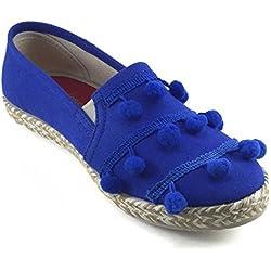Barcelonetta Women Blue Pom Pom Espadrille Shoes (10)