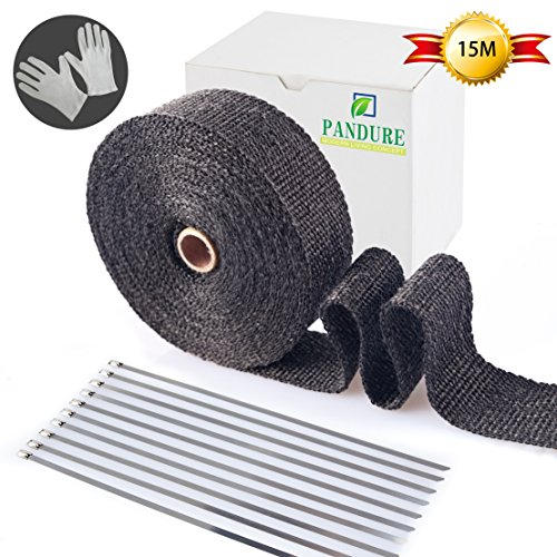 Pandure Titanium Lava Fiber,Exhaust Heat Wrap,Exhaust Header Wrap,Kit for Motorcycle with Stainless Ties(2