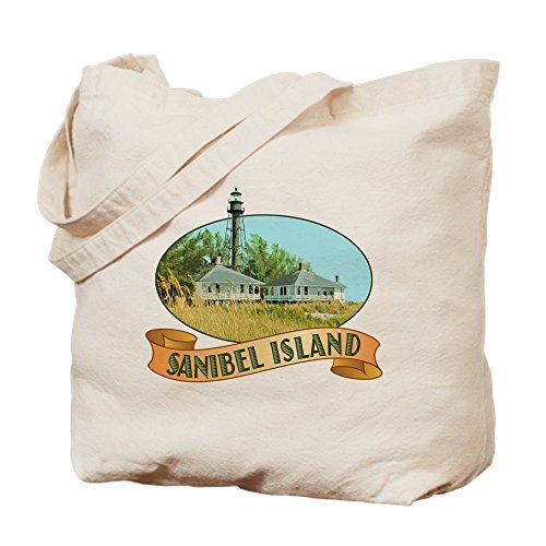 CafePress Sanibel Lighthouse Tote Or Beach Bag Natural Canvas Tote Bag, Cloth Shopping Bag