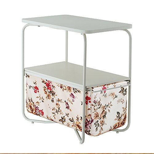 Creatwo End Table, 3 Tiers Wood Side Table/Coffee Table/Sofa Table with Storage Canvas Basket,Peony (Peony Basket)