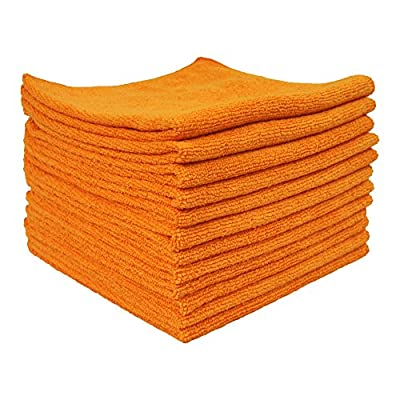Eurow Utility Terry Weave 16 x 16in 240 GSM Microfiber Cleaning Towels Orange 12-Pack: Automotive