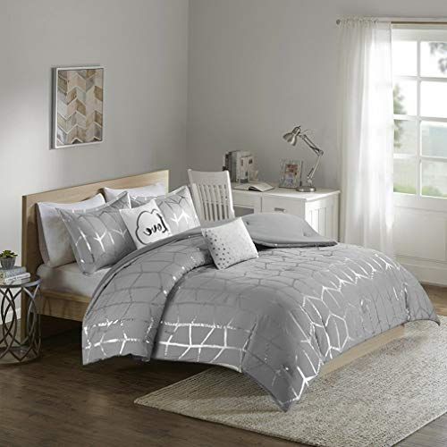 (Kaputar Fun Cozy Modern Chic Grey Silver Metallic Chevron Girl Stripe Comforter Set   Model CMFRTRSTS - 3414   Queen)
