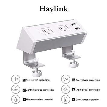 Haylink - Tira de enchufes de Escritorio con aprobación UL, con 2 ...