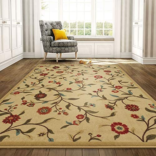 OTTOMANSON Otto Home Collection Garden Design Modern Area Rug Skid Non-Slip Rubber Backing