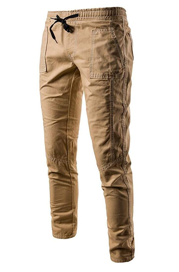 Lutratocro Mens Basic Drawstring Slim Fit Stretchy Trousers Pure Color Pants