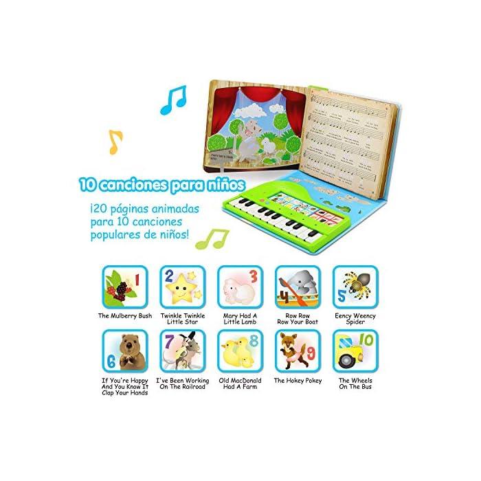 MULTI PREMIOS GANADORES DE JUGUETES DE APRENDIZAJE DIVERTIDOS - ganador medalla de oro de madres Choice y premio Tillywig mejor diversión creativa 2017! ¡Ganador del premio al mejor libro infantil creativo del año y a la obra de teatro creativa 2019! ¡Un piano interactivo y portátil del tamaño de un libro para los pequeños amantes de la música! Incluye un cancionero ilustrado con un cuadro de claves codificado por colores con 10 canciones y 6 instrumentos musicales. ¡Aprender a tocar el piano nunca ha sido tan fácil! Una gran idea de regalo de Navidad para niños y niñas; amantes de la música. Grabar y reproducir; ¡Escucha lo bien que has tocado!