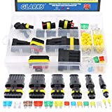 #8: Glarks 1 2 3 4 5 6 Pin Waterproof Car Auto Electrical Wire Connector Terminal Plug with 5-30 AMP Blade Fuses Assortment Kit for Motorcycle, Scooter, Car, Truck, Boats