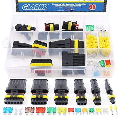 (Glarks 1 2 3 4 5 6 Pin Waterproof Car Auto Electrical Wire Connector Terminal Plug with 5-30 AMP Blade Fuses Assortment Kit for Motorcycle, Scooter, Car, Truck, Boats)