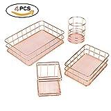 RONGT Metal Wire Storage Basket for Bathroom, Wire Storage Container For Office Bathroom Bedroom Pantry,Makeup Brushes Organizer,Fruit Basket Storage Organizer Copper Rose Gold Basket(4 sets)