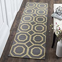 Safavieh Cedar Brook Collection CDR268Q Geometric Flatweave Grey and Gold Jute Runner (23 x 8)