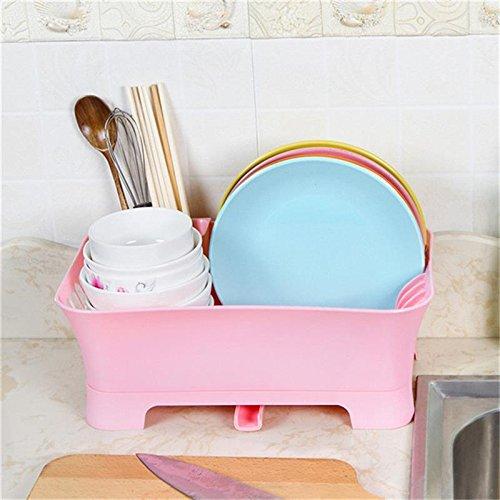 Katoot@ Plastic Rack Holder Dish Drainer Plate Cutlery Kitchen Dish Sink Drain Filter Bowl Rack Cup Plate Cutlery Drainer Drying Holder (Pink)