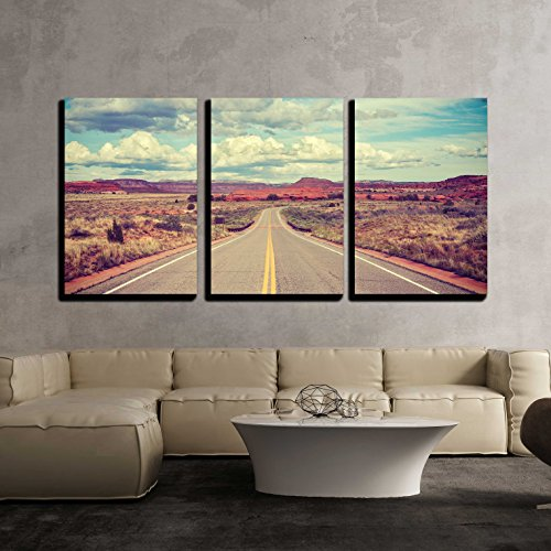 Vintage Stylized Desert Road Travel Concept x3 Panels
