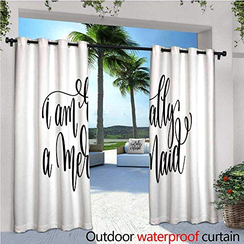 cobeDecor Im Mermaid Indoor/Outdoor Single Panel Print Window Curtain Positive Motivational Slogan with Fantastical Themes Inscription Inspiration Silver Grommet Top Drape W120 x L84 Black ()
