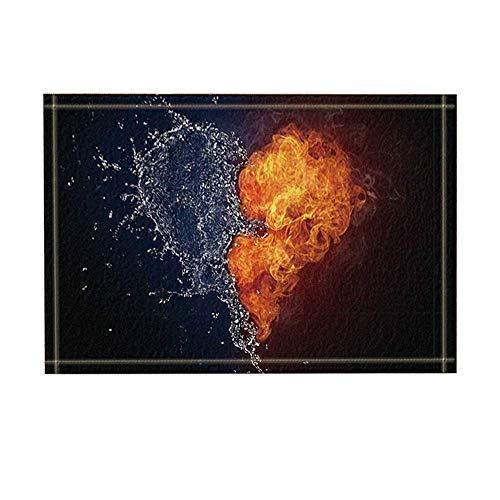 Black Background Water fire insoluble Love Style Small Drop Smoke Bathroom Anti-Slip Mat Carpet Non-Slip Door Mat Children
