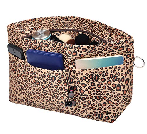 - Vercord Handbag Purse Tote Pocketbook Organizer Insert Zipper Closure 11 Pockets, Leopard L