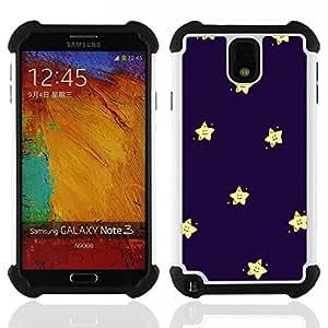 /Skull Market/ - Super Stars stars For Samsung Galaxy Note3 N9000 N9008V N9009 - 3in1 h????brido prueba de choques de impacto resistente goma Combo pesada cubierta de la caja protec -