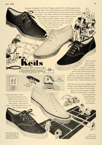 1938 Ad Keds Flex-Weave Shoes Tennis Household Chores - Original Print Ad from PeriodPaper LLC-Collectible Original Print Archive