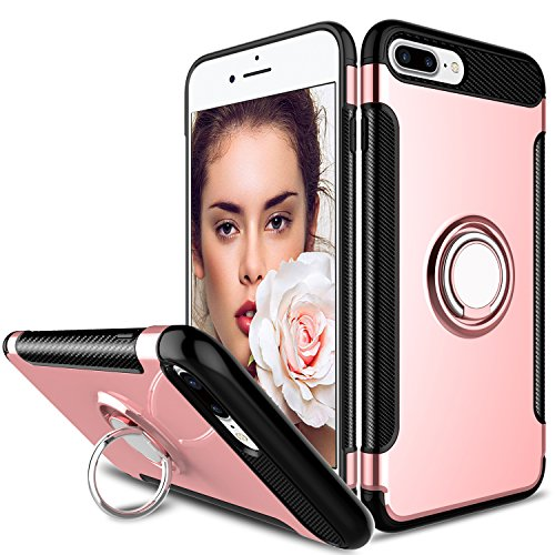Zenic Compatible with iPhone 8 Plus Case, Slim Dual Layer Hybrid Defender Armor 360 Degree Rotating Ring Kickstand Case with Magnetic Case Compatible with iPhone 7 Plus(Rose Gold)