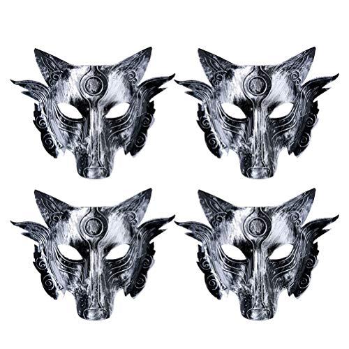 Vintage Animal Halloween Masks (Amosfun 4pcs Halloween Mask Vintage Animal Wolf Head Face Cover Props for Halloween Carnival Cosplay Costume Party Supplies)