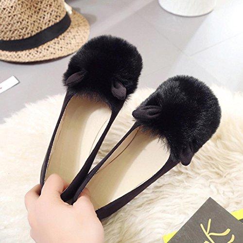Deesee (tm) Femmes Dames Glisser Sur Les Sliders Moelleux Faux Fourrure Pantoufle Plate Flip Flop Chaussures Simples Noir