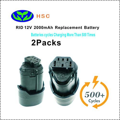 2Packs 2000mAh 18650 battery pack RID12A Li-ion Battery 12V Replacement For RIDGID AC82048 AC82008 130188001/AEG L1215 L1215P L1215R L1230 R86048 Original Battery