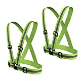 SODIAL(R) Reflective Safety Vest Reflective Belt Visibility Cross Belt Band Harness Belt Waist Belt, Green