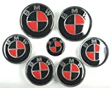 XtremeAmazing 7 Pcs Carbon Fiber Emblem Badge For BMW Red/Black 82MM/82MM