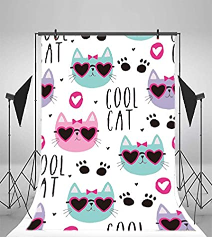 8x12 FT Cat Vinyl Photography Backdrop,Do Be Happy Theme Orange Cats in Positions Smiling Suns Paws Prints Hearts Background for Party Home Decor Outdoorsy Theme Shoot Props