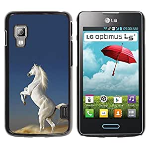 Paccase / SLIM PC / Aliminium Casa Carcasa Funda Case Cover para - White Horse Desert Wild Magical Unicorn - LG Optimus L5 II Dual E455 E460