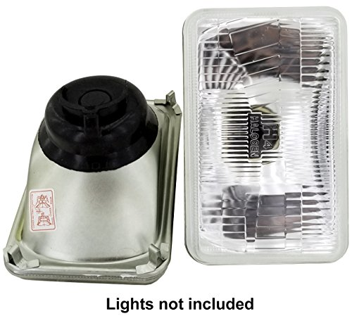 GS Power's OEM style 4 x 6 inch Glass Lens H4 HID LED Halogen High Low Beam Headlight Lamp Conversion Replacement Kit (2 pc)   Lights Not Included   Also - Conversion Light 6