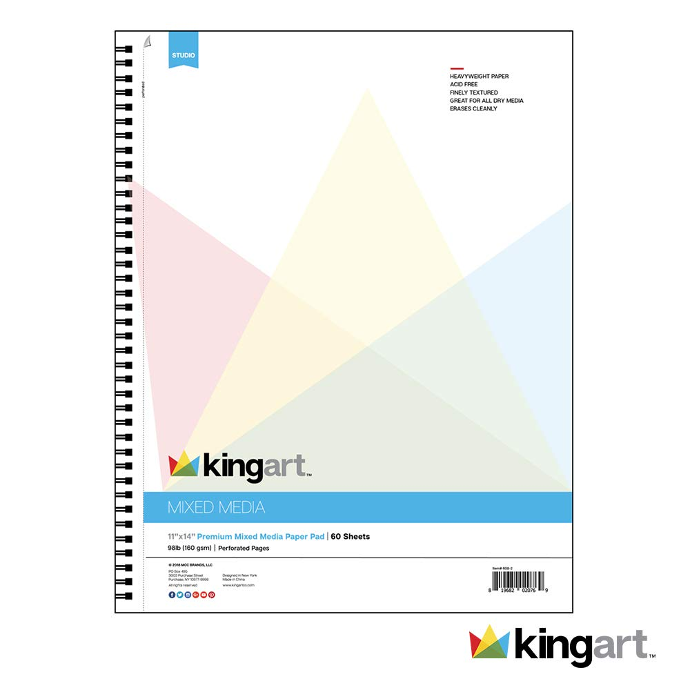 KINGART Mixed Media Paper Pad, Heavyweight, Fine Texture, Perforated, Side Wire Bound, 98 LBS. (160G), 9' X 12', 60 Sheets