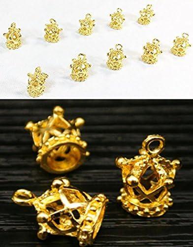 (bmb雑貨)王冠 五角 クラウン 金色 アクセサリーパーツ チャーム 10個 18mm☓12mm (ゴールド)