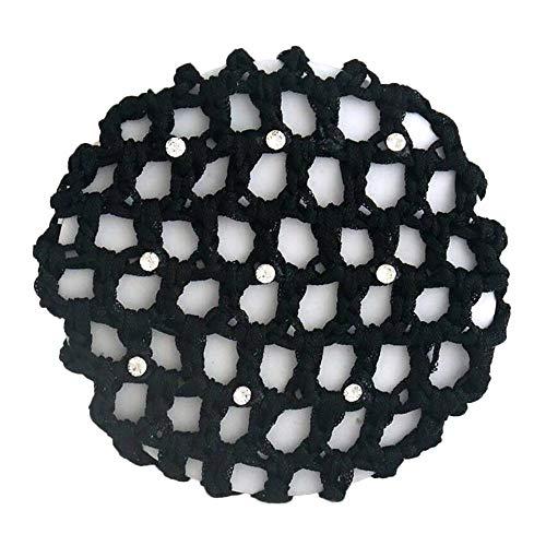Women Rhinestone Handmade Crochet Knitted Hair Bun Cover Ballet Dance Skating Hair Net (Black)