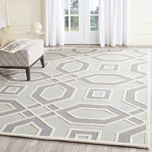 Safavieh Cambridge Collection CAM723G Handcrafted Moroccan Geometric Grey and Ivory Premium Wool Area Rug 8' x 10'